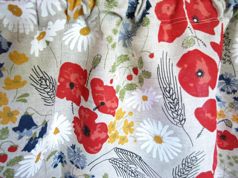 Linen Curtain Panel Natural Linen Summer Meadow Flowers Floral