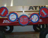 Baseball Themed I AM 1 One Highchair Banner.  Sports Birthday Mini Banner . First Birthday Party Decorations in Red Blue