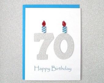 seventieth  etsy, Birthday card