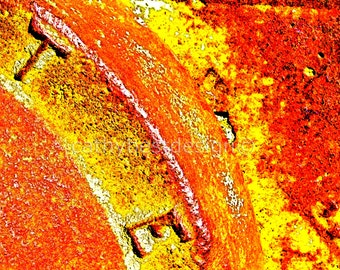 Industrial Art Orange TE Rusted Corroded Metal Abstract Fine Art Photograph