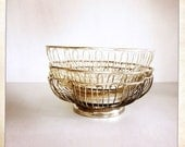 vintage silver wire basket scalloped bread fruit bowl