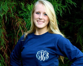 LONG SLEEVE Monogrammed Pocket Tee Available in sizes Small-XXLarge