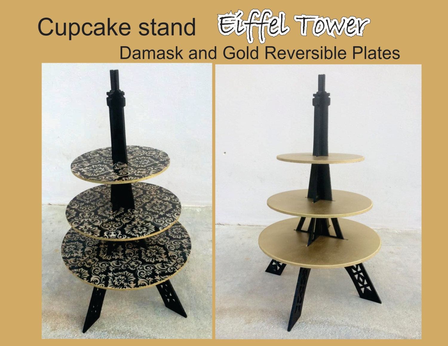Eiffel Tower Reversible Plates Cupcake Stand
