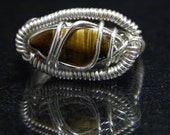 SALE 50% OFF Wire Wrapped Tiger Eye Ring Size 10
