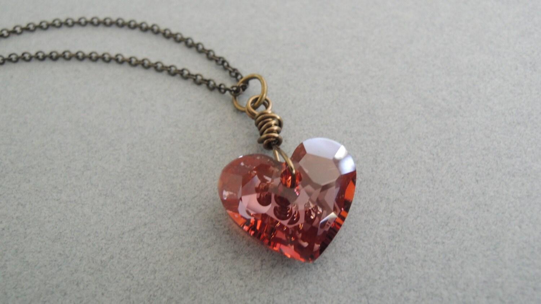 red heart necklace swarovski crystal vintage style valentine. Black Bedroom Furniture Sets. Home Design Ideas