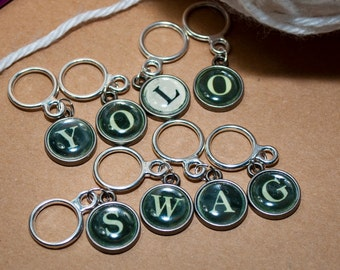Type Writer Inspired YOLO Swag Stitch Marker Set (Set of 8)