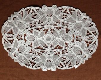 """2Pcs-set, White Organza Battenburg Lace Placemat  28x42cm(11x17"""")"""