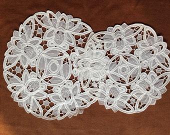 """White Organza  Battenburg Lace Wedding Doilies  9"""" ,11"""", 13"""" Round"""