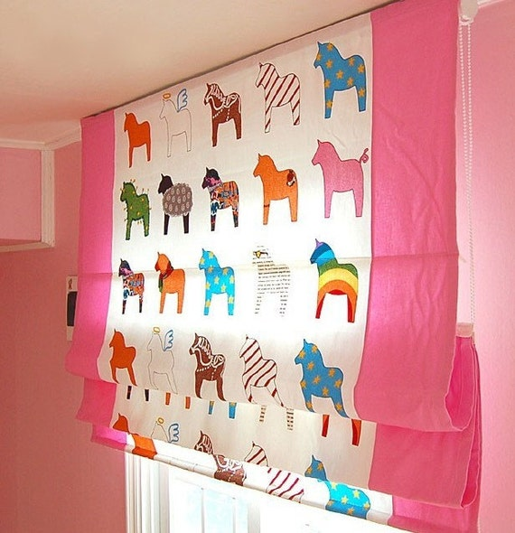 Custom made kid 39 s room roman shade blind 2 by tableclothshop for Blinds for kids rooms