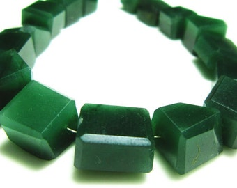 "AAA- Green Jade Step Cut Nuggets- 7"" Strand -Stones measure- 7-14mm"