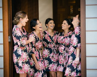 SALE Set of 5 Bridesmaids Robes Kimono Crossover Robe Spa Wrap Perfect bridesmaids gift getting ready robes destination Wedding shower
