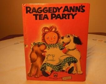 Vintage--1954-Raggedy Ann Book-Raggedy Ann s Tea Party-Wonder Books