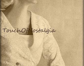 LACE EVENING JACKET Crochet Pattern Vintage - Elegant Rose Lace Evening Jacket  - Filet Crochet Lace Design - Exquisite