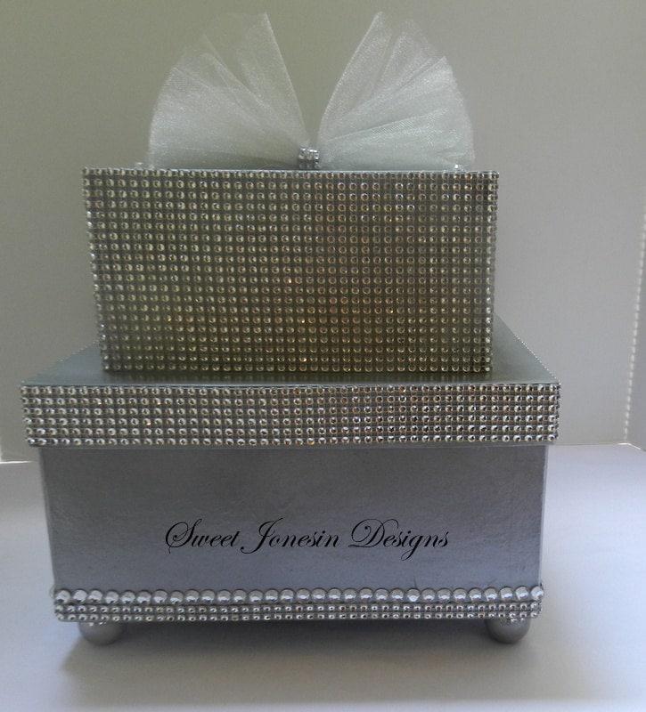 Silver Bling Wedding Card Box Diamond Mesh Ribbon Sweet 16 – Bling Wedding Card Box
