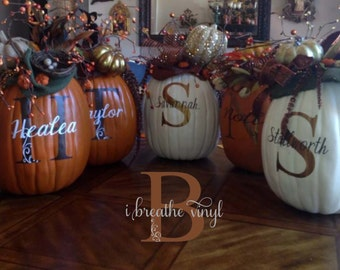 Initial with name and scroll detail - Monogram Pumpkin Decal