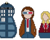 Doctor Who Matryoshka Dolls Counted Cross Stitch Pattern, Tenth Doctor and Companion