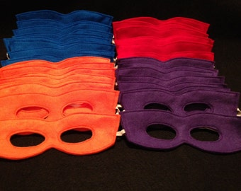 Teenage Mutant Ninja Turtle Colors Felt Mask Super Hero Dress Up Set of 10