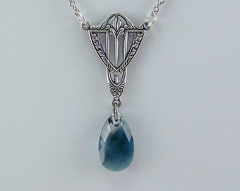Teardrop Necklace, Blue Crystal Necklace, Montana Swarovski Crystal Teardrop, Montana Faceted Briolette, Art Deco Necklace, Antique Blue