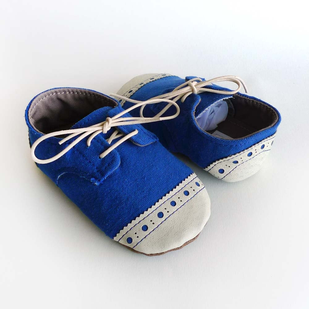 Baby Shoes Boy Or Girl Royal Blue Canvas With Brogued By