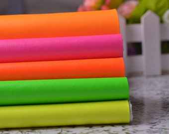 Half Yard Neon Solid Faux Leather Fabric For Home Decor Furniture Upholstery Application,Bags/Purses Crafting,Zakka Fabric 54'' Wide