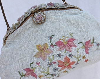 """Vintage Hand Beaded In France Floral Evening Bag By """"Real Point De Beauvais"""" 1930's-1940's, Vintage Glass Micro Beaded Bag, Bridal Purse"""