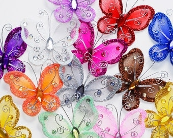 2 Inch Sheer Nylon Crystal Wire Butterfly with Rhinestones 12 Pieces - CHOOSE YOUR COLORS