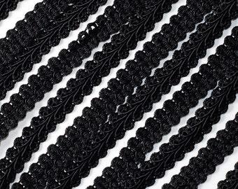 "3/8"" Black Braided French Gimp Trim Ribbon Scrapbooking Wedding Decor 25 Yards"