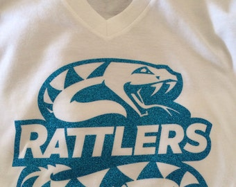 Arizona rattlers teal snake logo glitter tshirt with Davila name and number on the back