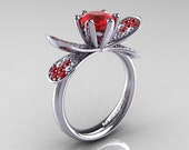 14K White Gold 1.0 Ct Rubies Diamond Nature Inspired Engagement Ring Wedding Ring R671-14KWGDR