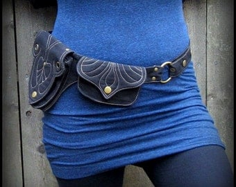 Utility Belt Canvas Pocket Belt ~  Vegan Burning Man Festival Clothing ~ purple or black hip belt ~ adjust small to extra large XL