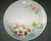 Nippon Hand Painted 8 inch Plate, Pink Hibiscus, Blue Background, Green Crown Mark (1910s)