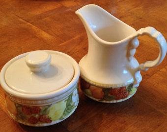 """Metlox  Vernonware """"Della Robbia"""" - Cream and Sugar Set"""