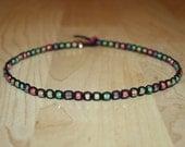Tutti Frutti Pastel Rainbow Beaded Black Hemp Choker Necklace Pastel Goth Choker Pastel Goth Necklace Pastel Goth Jewelry Colorful Necklace