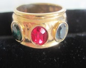 Vintage Pididdly Links Triple Stone ring size 7-Nearly New