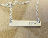 Pure Silver Bar Name Necklace, Layered Silver Initials Necklace,  Personalized Necklace, Necklace for Women,  Sterling Silver Chain
