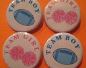 Footballs and Pompoms Team Boy Team Girl Gender Reveal Party Favor 1.25 inch Pin Back Buttons Set of 20