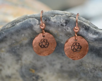 Recycle Earrings Hand Hammered Stamped Copper Hand Made French Wires