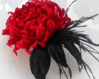 Red fabric flower hair clip, silk flower, bridal brooch, flower for sash, bridesmaid hair clip, flower hair clip, mother of a bride brooch.