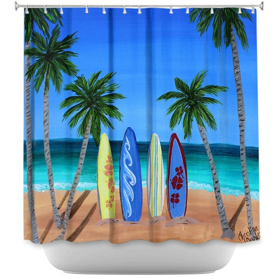 Surf Themed Shower Curtain Beach Shower Curtains