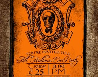 INSTANT DOWNLOAD diy Vintage Halloween Party Printable Invitation Hallows Eve Invite Girl Boy Birthday Supplies Skull Orange 5x7 PDF file