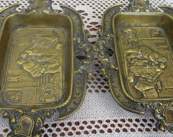 Antique Cast Brass Victorian Renaissance Scene Desk Pen Calling Card Tray