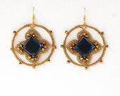 Boho earrings. Bridesmade jewelry. Party dangle earrings. Gold Crochet Hoops. Greek folk. Royal blue.  Gift for Her. Wedding jewelry.