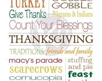 Thanksgiving Subway Art, 11x14 Digital Print