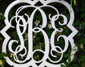 """20"""" Inch Large  Vine Connected Wooden Monogram Letters with Designed border, Unfinished,Unpainted, Family decor, wedding"""