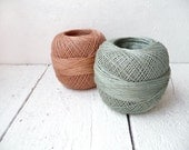 3ply linen yarn industy blue and pale pink - Total 7oz. / 200 gram linen yarn