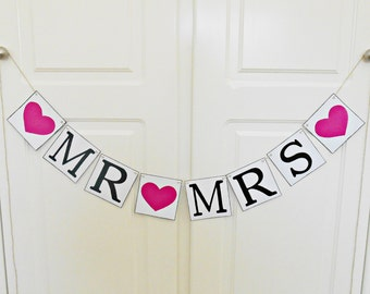 FREE SHIPPING, Mr & Mrs banner, Bridal shower banner, Wedding banner, Engagement party decoration, Photo prop, Bachelorette party, Hot pink