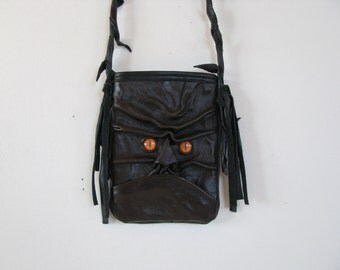 Black Leather --Hand  Molded Face Bag/ Cross-Body Bag/Purse/ Handbag