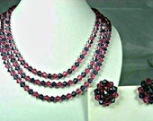 Vintage Three Strand Cyrstal Necklace Earrings Set Demi Parure Pink Purple - TheFashionDen