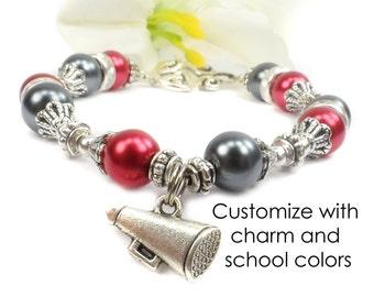 School Charm Bracelet, Graduation Gift, School Spirit Jewelry