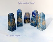 Reiki Symbols Lapis Lazuli Crystal Healing Wand with 4 Reiki Symbols etched in Gold